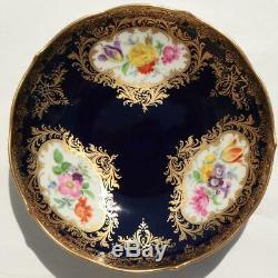 Antique German Meissen Porcelain Gilded Cobalt Blue Flower Tea Cup Saucer Plate
