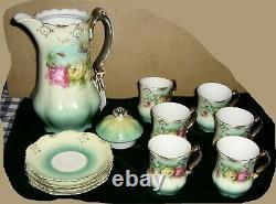Antique Germany Gold Gilt Porcelain Tea/Chocolate Serving Set, Teapot, Cups, Saucer