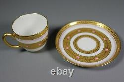 Antique Hand Painted French Porcelain LIMOGES Tea Cup and Saucer GOLD ENCRUSTED