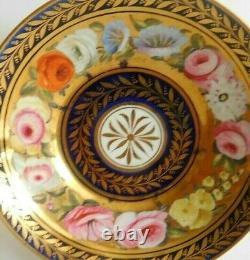 Antique John Rose Coalport Porcelain Cup And Saucer London Decorated Floral Band