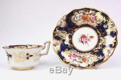 Antique John Rose Coalport Porcelain Cup Saucer Cobalt Blue Floral Sprays 1820