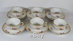 Antique KPM Germany Berlin Porcelain Tea Cups and Saucers Set of Six