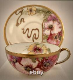 Antique Lantinier Limoges Tea Cup & Saucer, Art Nouveau