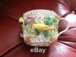 Antique Meissen Porcelain Schneeballen Snowballs Cup & Saucer Canaries 19thc