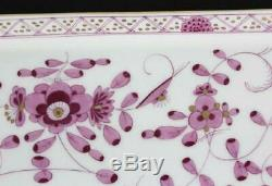 Antique Meissen Purple Indian Porcelain Set Of Tray And 2 Large Tea Cups/saucers