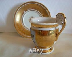 Antique Old Paris Hand Painted, Gilt, Porcelain Cup And Saucer