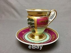 Antique Old Paris Tea/Coffee Cup & Saucer (c. 1840) Magenta Mint Lots of Gold