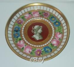 Antique Old Paris or German Porcelain Cup and Saucer with Profile Portrait Cameo