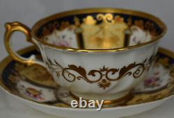 Antique Ornate Nantgarw Porcelain Gold Floral Tea cup Cobalt Blue HP Dresden