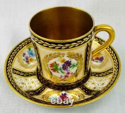 Antique Paragon Gold Gilt Lined Coffee Cup Can & Saucer Porcelain Queen Mary