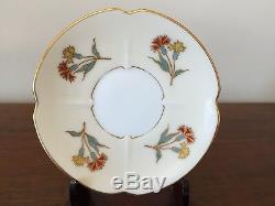 Antique Pirkenhammer Hand Painted Floral Demitasse Cup & Saucer Set, Circa 1893
