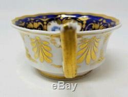 Antique Porcelain RIDGWAY tea Cup and Saucer 1825 hand painted blue floral