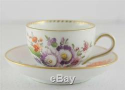 Antique Porcelain Wolfsohn Mini Cup Saucer Dresden HP Flower Set Gilt R Mark
