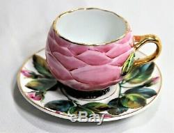 Antique Portuguese Vista Alegre Flowers Motif Porcelain Tea Cup & Saucer