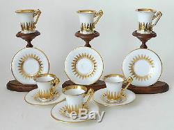 Antique Richard Klemm Crown Dresden 6 porcelain cup and saucers