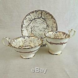 Antique Ridgeway Porcelain Trio Two Cups and Saucer Gilded Pattern Number 2/838