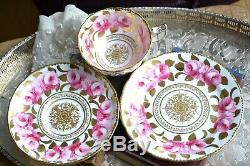 Antique Royal Chelsea Swansea Rose Pink Cup Saucer Plate Trio English Porcelain