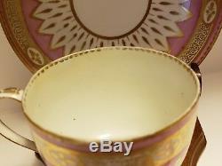 Antique Royal Derby Porcelain Flute Tea Cup & Saucer Puce Mark RARE #188 c 1785