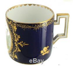 Antique Royal Vienna Portrait Tea Cup & Saucer Elegant Cobalt Gold Bindenschild