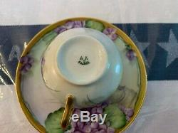 Antique Set Of 6 A K D Limoges France Hand Painted Matching Cups And Saucers