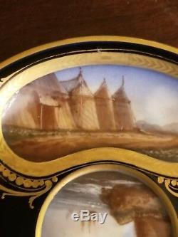 Antique Sevres 1771 Porcelain Battle Of Rocroi Handpainted Blue Cup And Saucer