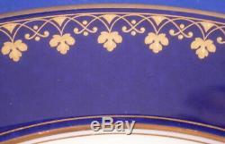 Antique Sevres Cobalt Blue & Gold Porcelain Soup Bowl Plate Porzellan Teller