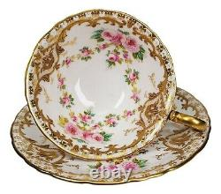 Antique Wedgwood Hand Painted Roses Heavy Gold Porcelain Tea Cup and Saucer