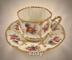 Antique Wolfsohn Dresden Tea Cup & Saucer, Unique Shape