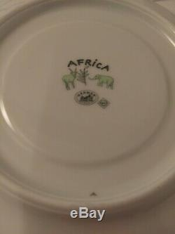 Authentic Hermes Paris Africa set of 4 cups/saucers porcelain green yellow