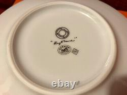 Authentic Hermes Red Rythme 2 Cup & Saucer Set Porcelaine with Defect
