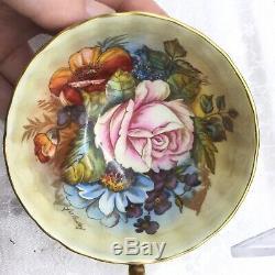 Aynsley Cobalt Blue Cabbage Rose Flower Signed Porcelain Tea Cup Saucer Bailey