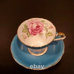 Aynsley English Porcelain Blue Turquoise Cabbage Roses Cup and Saucer