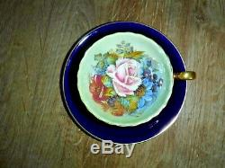 Aynsley Rose Design Vintage Tea Cup & Saucer Signed J A Bailey Excellent
