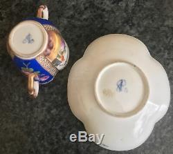 BLUE DRESDEN AR porcelain WOLFSOHN COURTING WATTEAU QUATREFOIL CUP & SAUCER
