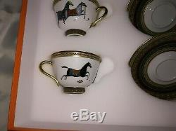 BNIB Hermes Porcelain Cheval d'Orient Tea Cup and Saucer 2 Set Authentic