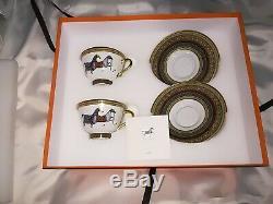 BNIB Hermes Porcelain Cheval d'Orient Tea Cup and Saucer 2 Set L@@K
