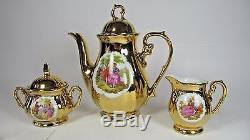 Bavaria Tea for Two Set Porcelain Cup Saucer Teapot Gold Gilt Fragonard Couple