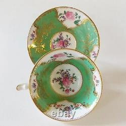Beautiful Antique George Jones And Sons Green Floral Porcelain Cup &saucer Nice