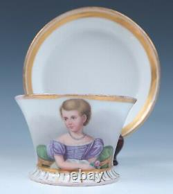 C. 1832 Royal Vienna Cup & Saucer with Young Girl Portrait Wien Porcelain Imperial