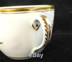 C1800 Antique Newhall Porcelain Bute Tea Cup & Saucer Flowers
