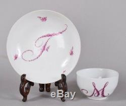 C1800 Meissen Porcelain Cup & Saucer Pink Floral Wreath Monogram MF