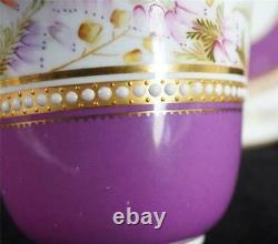 C1878 Antique Royal Worcester Jewelled Porcelain Purple Ground Cup & Saucer