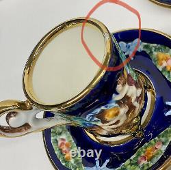 Capodimonte Cherub Porcelain Coffee / Tea Pot /Creamer / Sugar / 6 Cups-Saucer
