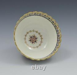 Caughley Porcelain Fluted Tea Bowl & Saucer Dresden Flowers c. 1785