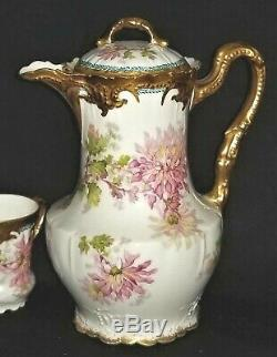 Chocolate set, Limoges, pot, 4 cups & saucers, LS&S, Offner, New Orleans, c1895