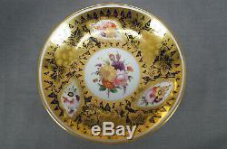 Coalport Hand Painted Floral Cobalt & Gold Porcelain Cup & Saucer Circa 1830s
