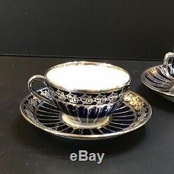 Deco Hutschenreuther Heavy Silver Overlay Porcelain Cup Saucer Cobalt Blue