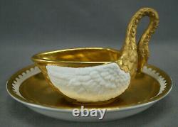 Dresden Carl Thieme Gold & White Antique Bisque Porcelain Swan Cup & Saucer B
