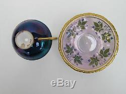 Dresden Porcelain Cup & Saucer, Lustre Blue Ground Interior Decor With Cockerel