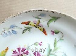 ENGLISH PORCELAIN DIVIDED HANDLE LEAF TERMINALS CUP AND SAUCER C1860 (Ref5644)